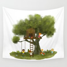 Tree Kids House Wall Tapestry