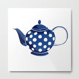 Blue Polka-Dot Teapot Metal Print