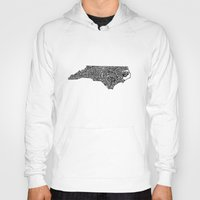 north carolina Hoodies featuring Typographic North Carolina by CAPow!
