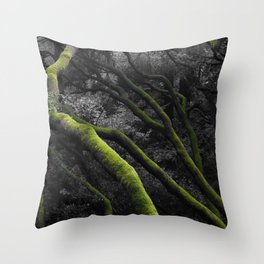 Mossy Bay Trees in Selective Black and White Throw Pillow