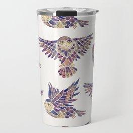 Owls in Flight – Mauve Palette Travel Mug