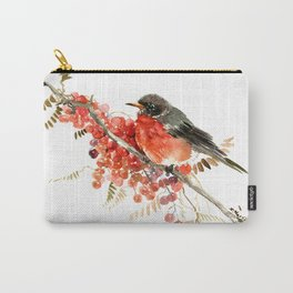 American Robin and Berries Carry-All Pouch