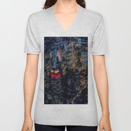 Empire State Lit Up Red at Night Landscape Painting by Jeanpaul Ferro Unisex V-Neck