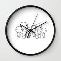 kodama Wall Clocks featuring Kodama, tree spirits by Space Bat designs