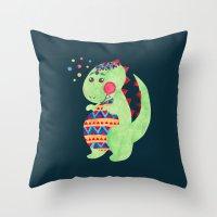 trex Throw Pillows featuring Green Dino by haidishabrina