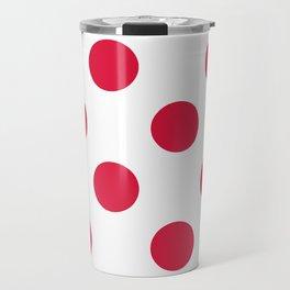 Large Polka Dots - Crimson Red on White Travel Mug