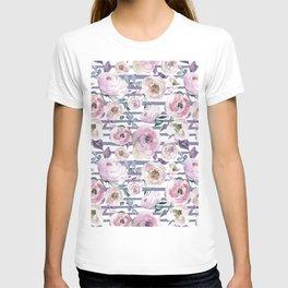 Violet blush pink lilac watercolor floral stripes T-shirt