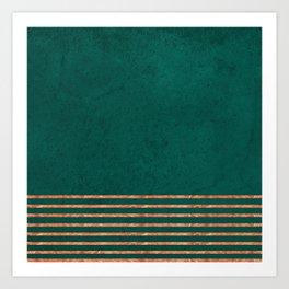 EMERALD COPPER GOLD BRASS STRIPES Art Print