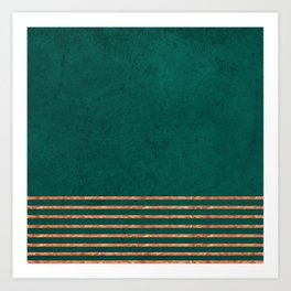 EMERALD COPPER GOLD BRASS STRIPES Art Print