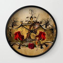 Cute little fairy with funny giraffe Wall Clock