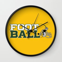 Football in Green and Yellow. Wall Clock