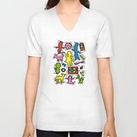 keith haring V-neck T-shirts featuring Haring - Simpsons by Krikoui