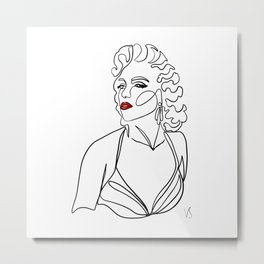 Vintage movie star - one continuous line ink abstract drawing. Metal Print