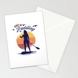 stand up paddling woman SUP Stationery Cards