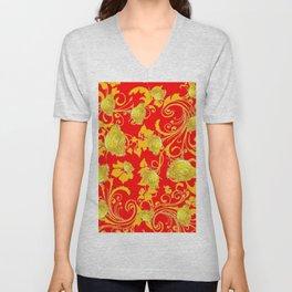 RED & YELLOW ROSE SCROLLS GARDEN ART PATTERN Unisex V-Neck