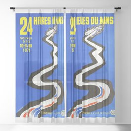 1972 Le Mans poster, car poster, race poster, t-shirt Sheer Curtain