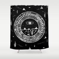 interstellar Shower Curtains featuring Interstellar Deserts by Kris Tate