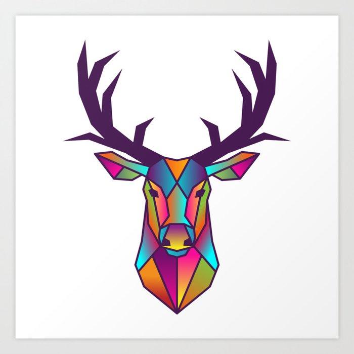 Deer Geometric Colorful Low Poly Animal Set Art Print By Gogodesignstudio Society6