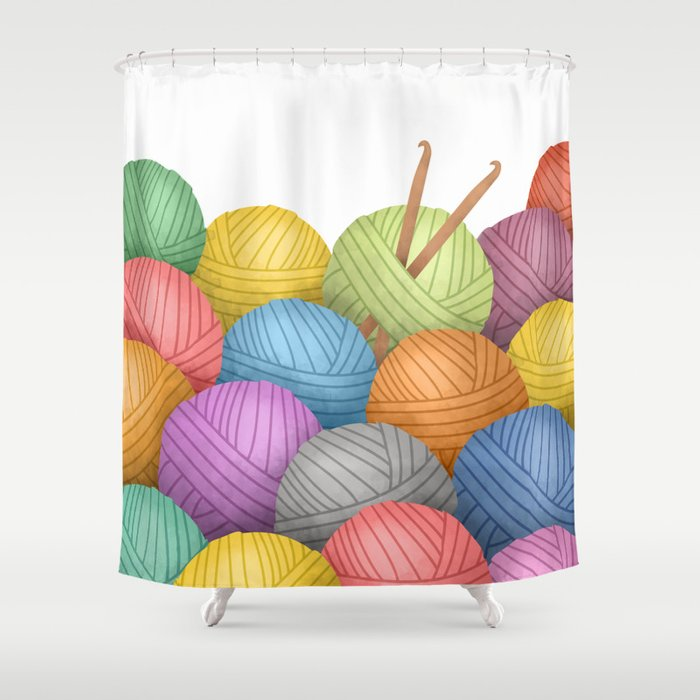 Two Crochet Hooks And A Lot Of Yarn Shower Curtain By Avenger Society6