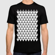 Triangles (Gray/White) Mens Fitted Tee Black MEDIUM