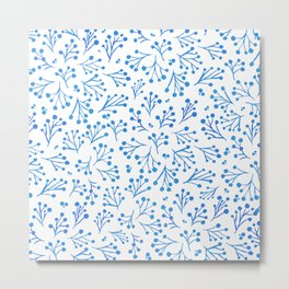 Watercolor winter fowers - blue Metal Print