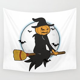 Witch pumpkin head broom night flying full moon spooky gift idea Wall Tapestry