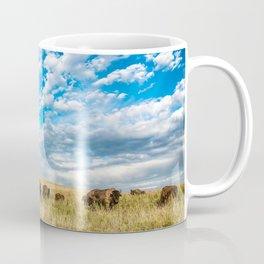 Grazing - Bison Graze Under Big Sky on Oklahoma Prairie Coffee Mug