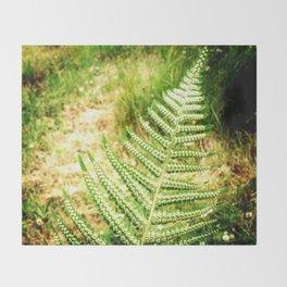 Green Fern Throw Blanket
