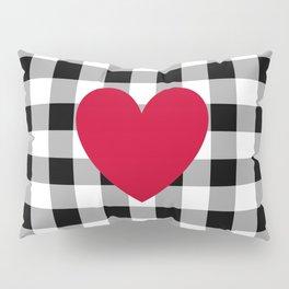 Red Heart on Black Buffalo Check Pillow Sham