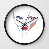 fashion illustration Wall Clocks featuring fashion illustration by Ashley Percival illustration