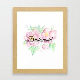 Pink Floral Watercolor Bridesmaid Gift Framed Art Print