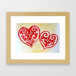 hearts in ethnic style Framed Art Print