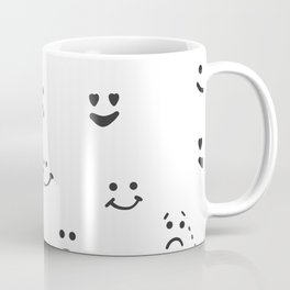 Sad face, happy face, smiley face, eyes heart face, crying face repeated pattern Coffee Mug