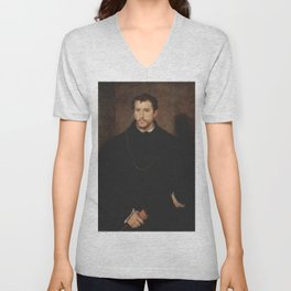 Titian - Portrait of a Young Englishman Unisex V-Neck