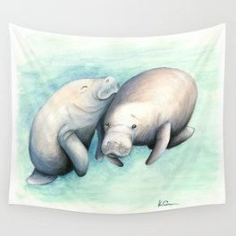 Manatee Love Wall Tapestry