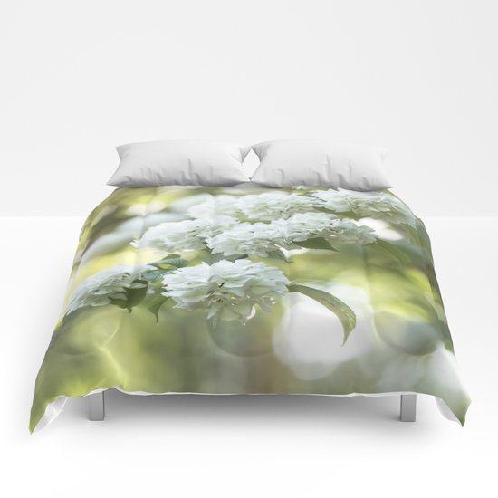 White Hydrangea at beautiful backlight- Flowers Floral Comforters