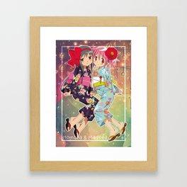 Madoka and Homura in Yukata dress Framed Art Print