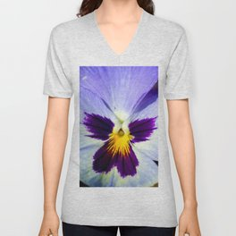 Closeup View Of Pansy Flower Unisex V-Neck