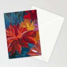 Fiery Dahlia Blossoms Stationery Cards