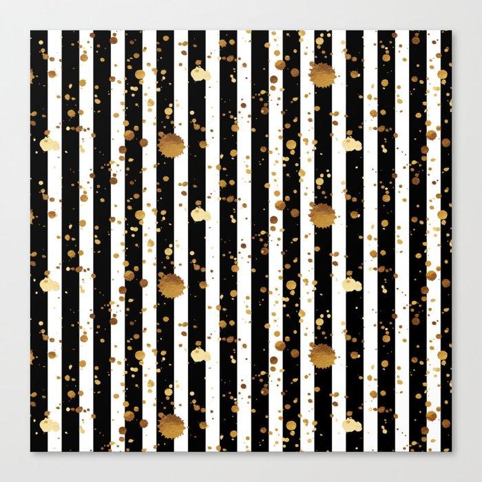 Stripes & Gold Splatter Leinwanddruck