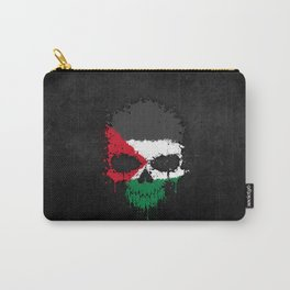 Flag of Palestine on a Chaotic Splatter Skull Carry-All Pouch