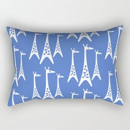 Mid Century Modern Giraffe Pattern 221 Blue Rectangular Pillow