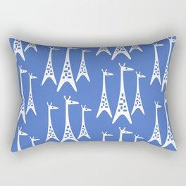 Mid Century Modern Giraffe Pattern 221 Blue Rectangular Pillow
