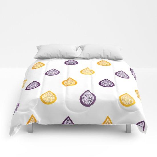 Yellow and purple raindrops Comforters