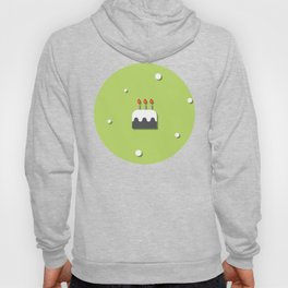 Birthday Chocolate Cake With Candles Green Pattern Hoody