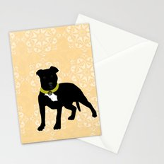 Black Staffordshire Bull Terrier Dog Print Stationery Cards