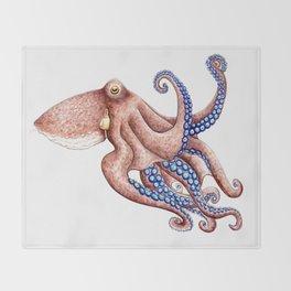 Blue octopus Throw Blanket