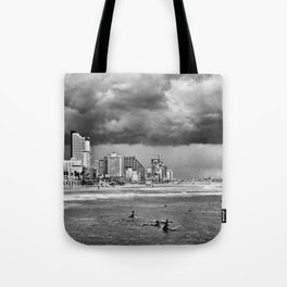 Surfers waiting for the wave, Tel-Aviv, israel Tote Bag