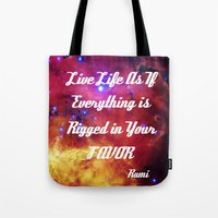 inspiration Tote Bags featuring Rumi by 2sweet4words Designs