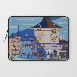 Bern with bell tower (1935) high resolution painting by Ernst Ludwig Kirchner Laptop Sleeve